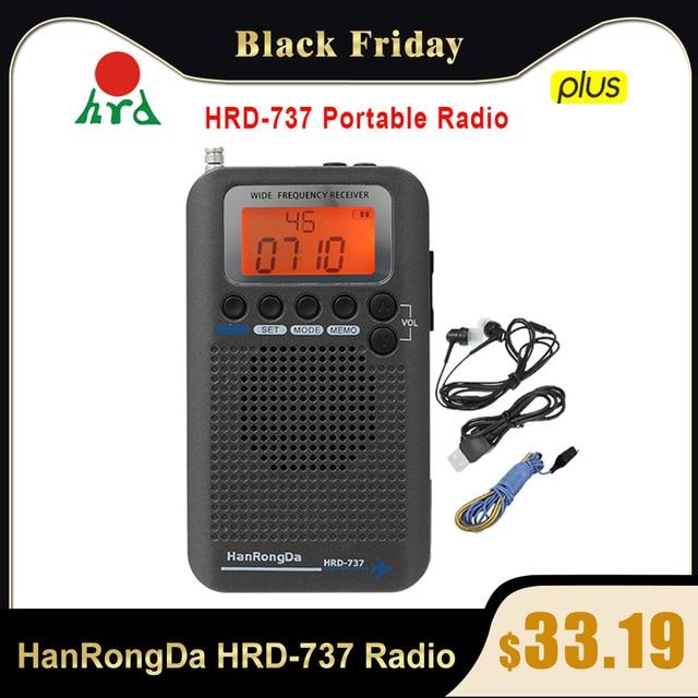 HanRongDa HRD 737 taşınabilir radyo uçak tam bant radyo FM/AM/SW/CB/hava/VHF alıcı dünya bandı LCD ekran çalar saat