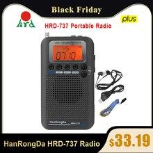 Hanrongda HRD 737 rádio portátil aeronaves banda completa rádio fm/am/sw/cb/ar/vhf receptor banda do mundo com display lcd despertador
