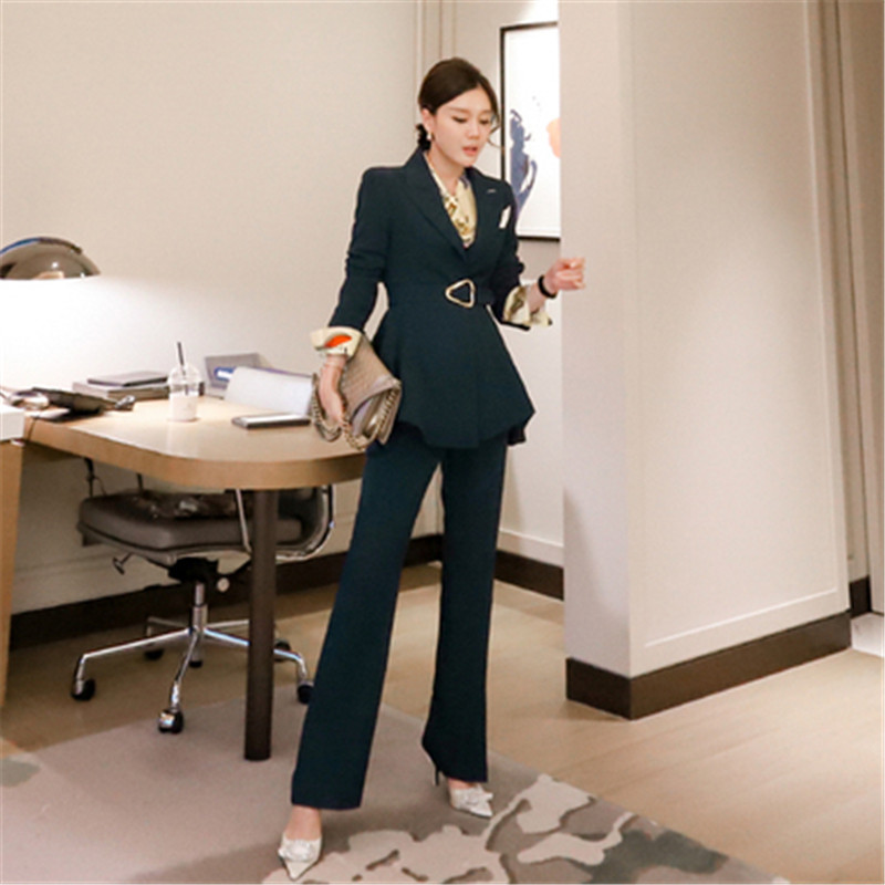 Autumn Sets for Women Elegant Notched Neck Long Sleeve Sexy 2 Piece Set Outfits High Quality Blazer Suit Two Piece Set Suits