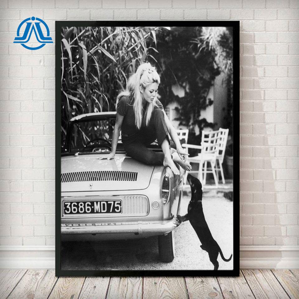 photo celebre modele noir et blanc peinture artistique vintage decor mural brigitte bardot affiche de mode francaise imprime sur toile