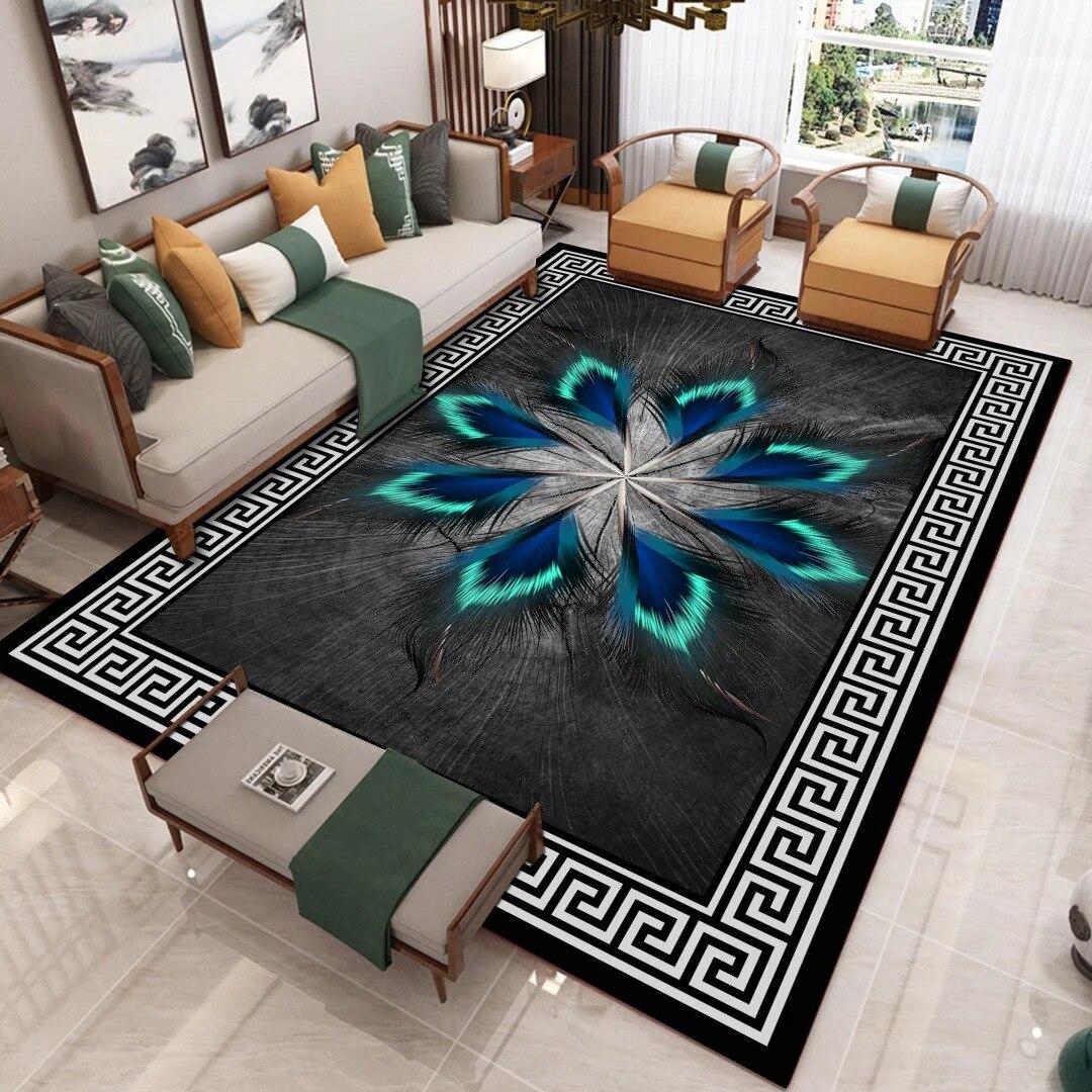 Alfombra con estampado 3D de plumas de dibujos animados para el hogar, moderna y sala de estar nórdica para estera, dormitorio, área grande, antideslizante, para cabecera