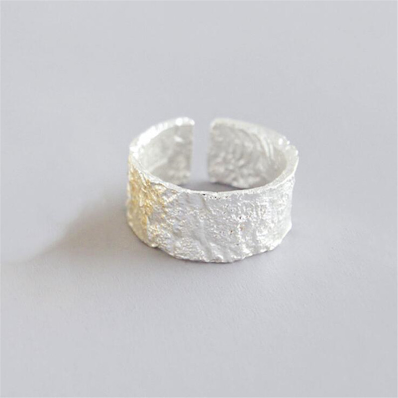 New Simple Creative Irregular Bump Wide 925 Sterling Silver Jewelry Fashion Personality Tree Pattern Opening Rings  SR464