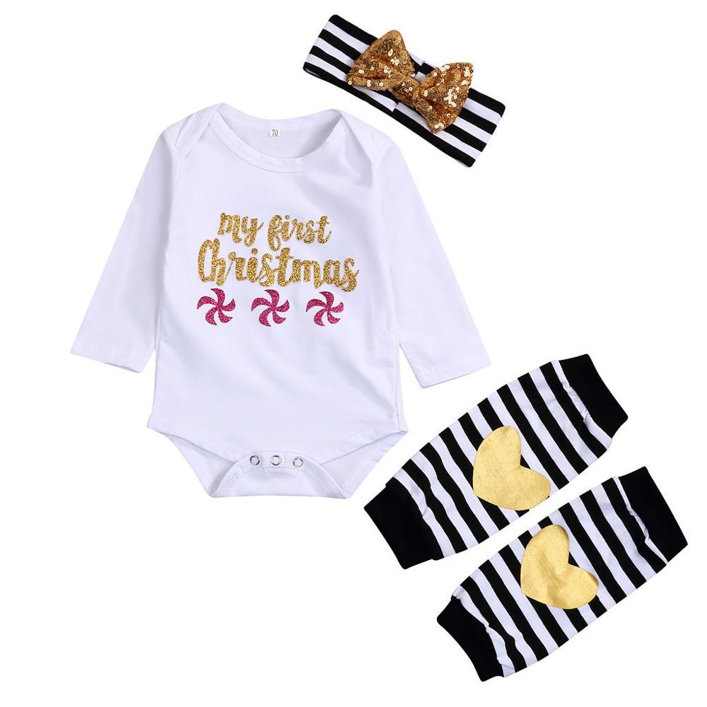 Newborn Infant Girls Letter Romper Tops+Leg Warmer+Bowknot Headband Outfits Set