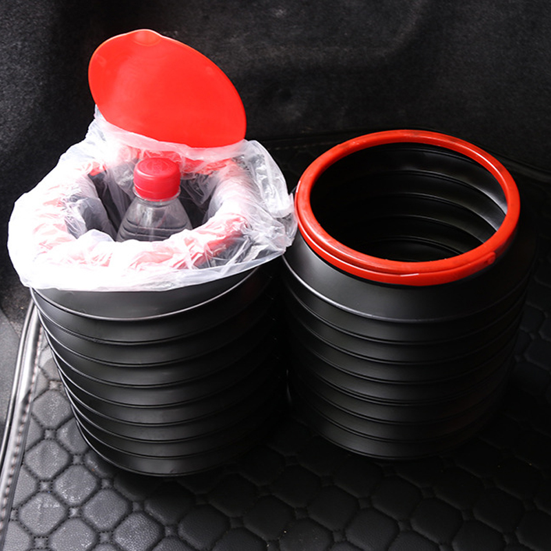 Direct Wind Car Trash Bin Garbage Can Car Wash Telescopic Bucket Folding Trash Organizer Garbage Holder Universal Black