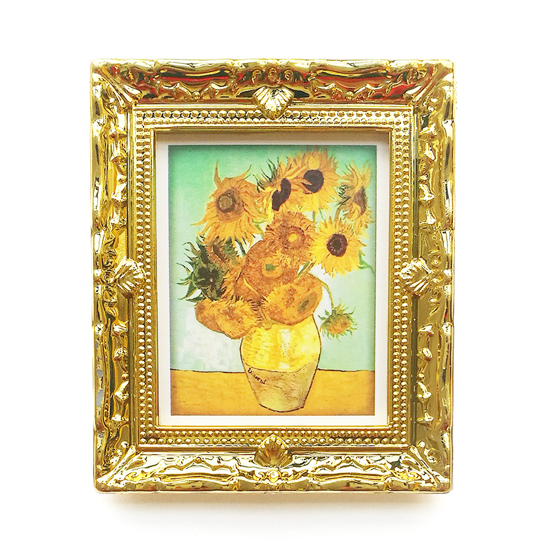 1:12 Miniature Painting Mural Wall Picture Vincent Van Gogh Golden Sunflower For Living Room Golden Framed Dollhouse Accessory