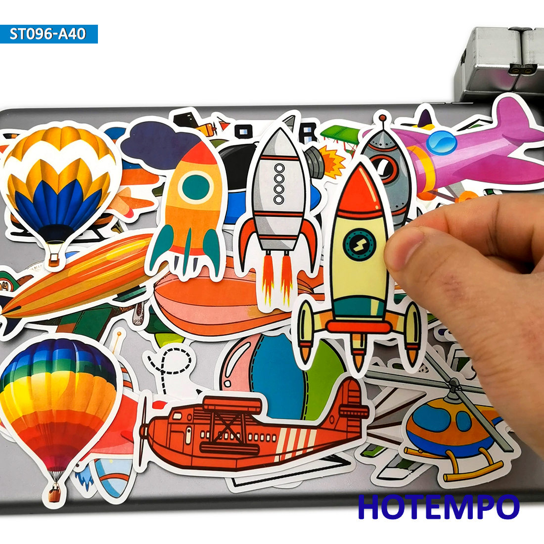 40pcs Airplane Airship <font><b>UFO</b></font> Rocket Cartoon Style <font><b>Stickers</b></font> Toys for Children Kids Scrapbook Stationery Mobile Phone Laptop <font><b>Sticker</b></font> image