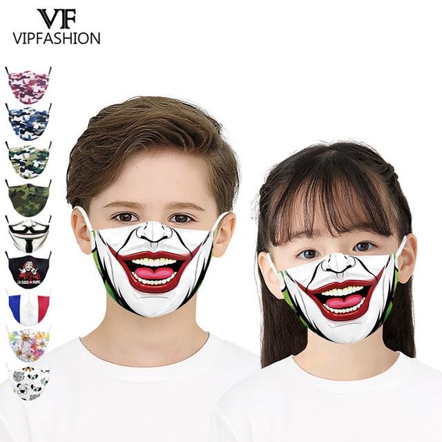 VIP FASHION Cute Kid's Mask Cartoon Clown Animal Face Fabric Masks Funny Grimace print Mouth-muffle Reusable Washable Masks