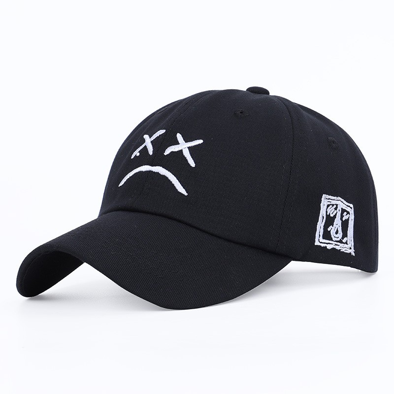 Fashion Dad Hat Embroidery Cotton Baseball Cap Hip Hop Cap Sad Face Hat Xxxtentacion Outdoor Sport Women&Men Baseball Cap
