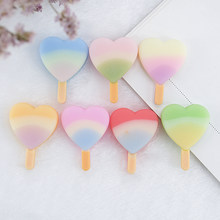 10pcs 35*26mm Resin Cabochons Rainbow Lollipop Ice Cream Flatback Crafts for Jewelry Hair Bow Making Embellishments DIY(China)