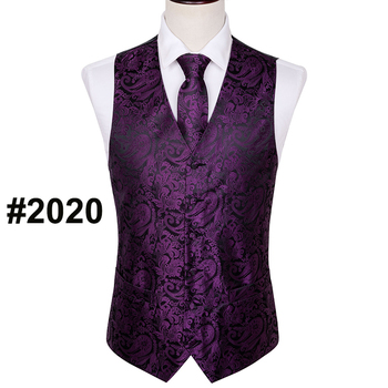 Designer Mens Classic Black Paisley Jacquard Folral Silk Waistcoat Vests Handkerchief Tie Vest Suit Pocket Square Set Barry.Wang 9
