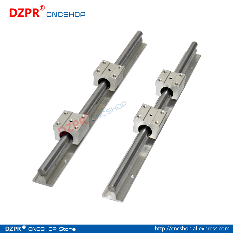 Linear Rail CNC Parts SBR10 10mm,2Pcs 350mm 13.78inch + 4Pcs SBR10UU Block Fully Supported Linear Rails and Bearing
