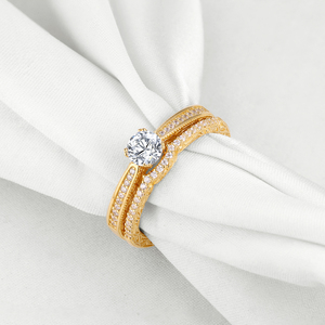 Image 2 - Newshe 2 Pcs Wedding Rings For Women Yellow Gold Color 925 Sterling Silver Classic Jewelry AAA CZ Engagement Ring Bridal Set