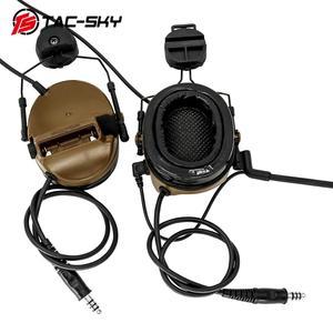 Image 4 - TAC SKY COMTAC tactical stand headset comtac iii doppio passaggio del silicone paraorecchie casco del basamento militare walkie talkie auricolare tattico