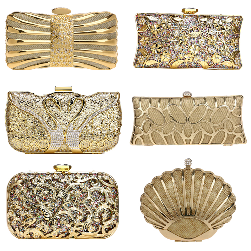 SEKUSA Luxury Women Evening Bags Hollow Out Style Diamonds Metal Clutch Purse Wedding Bridal Small Handbags For Party Bags