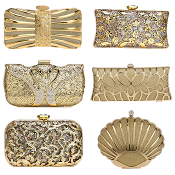 SEKUSA Luxury women evening bags hollow out style diamonds metal clutch purse wedding bridal small handbags for party