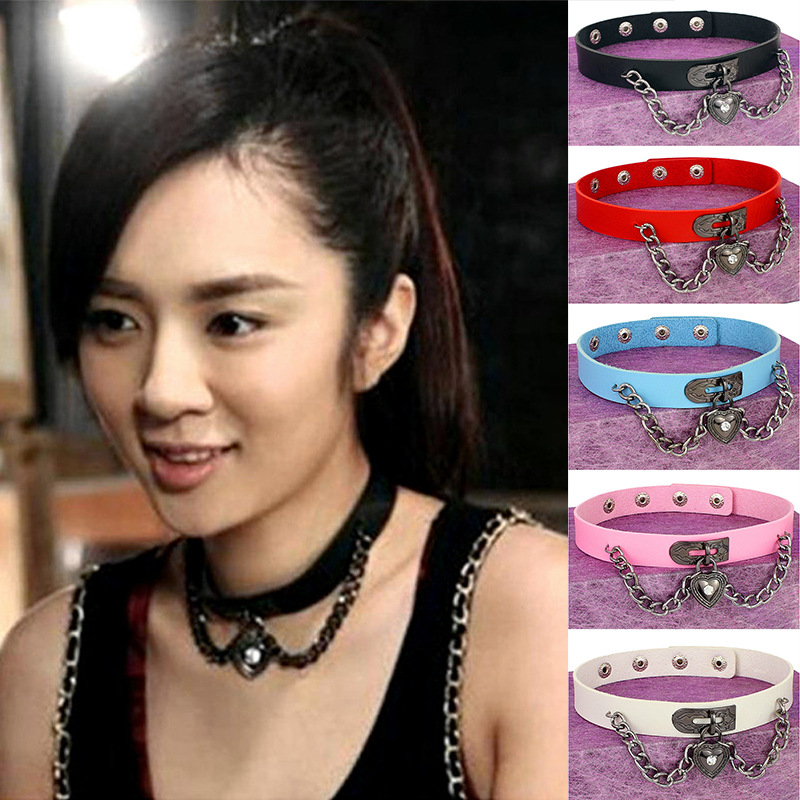 Women's belts  Punk Harajuku Wind xin xing suo Leather Collar Neck heart necklace   boyfriend gift