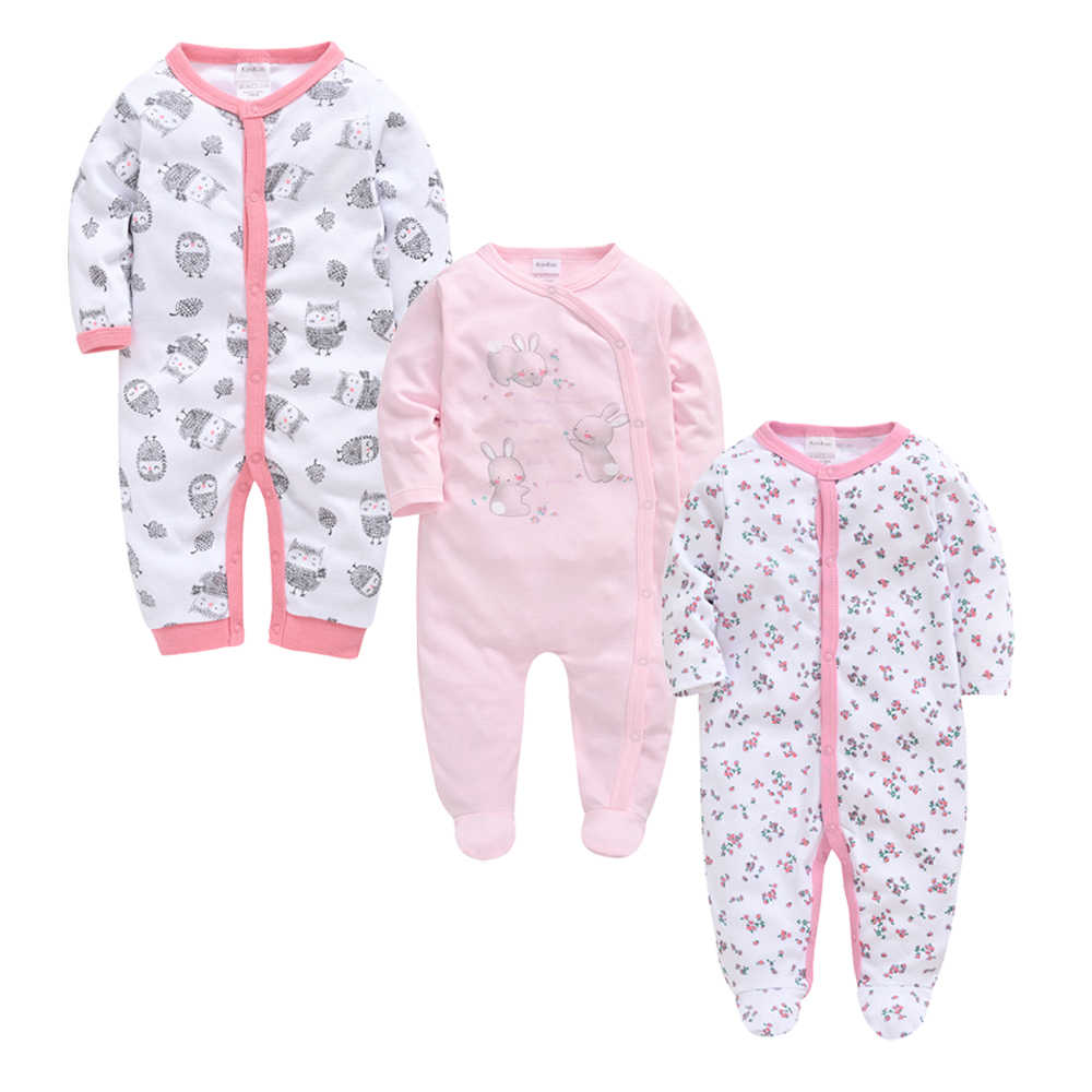 Kavkas 3 개/몫 아기 소녀 소년 의류 가을 여름 면화 Jumpsuit 신생아 아기 Rompers 0-3 m 긴 소매 roupa de bebe