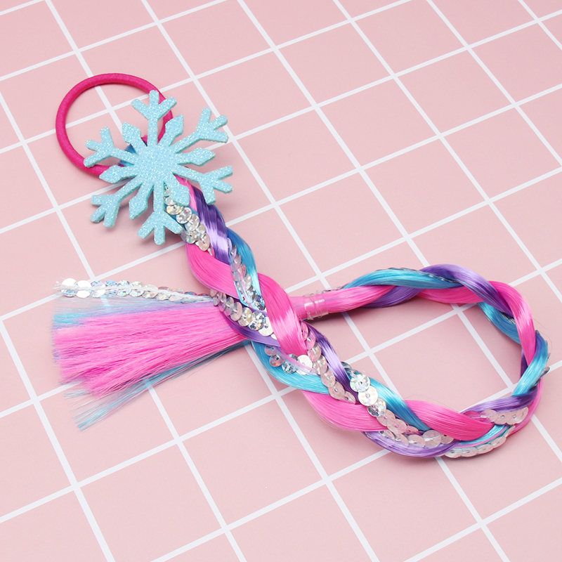 New Princess Glitter Snowflake Hair Rubber Band For Girls With Colorful Long Sequin Ponytail Wig Party Kids Hair Accessories