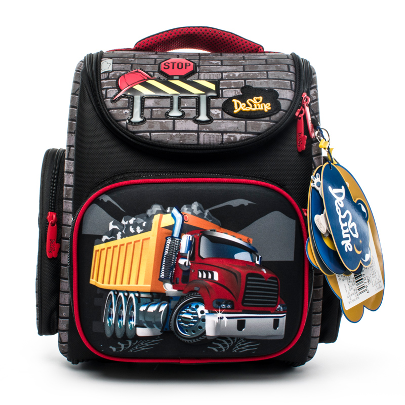 Delune Brand Girls Grade 1-4 Kids 3D Cartoon School Bags Children Orthopedic School Backpacks For Boys Cars Pattern School Bags