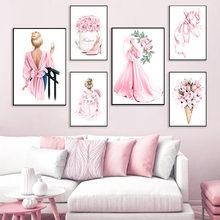 Chaussures de danse roses à talons hauts pour fille, affiches et imprimés nordiques, peinture sur toile d'art mural, images murales pour salon
