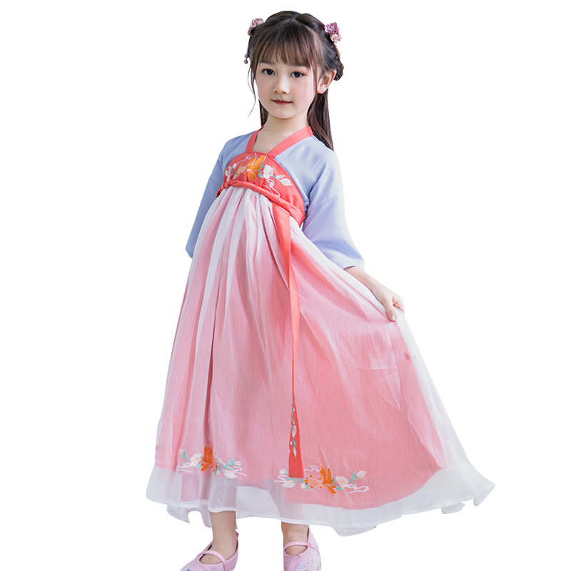 Kids Hanfu Children Long Dresses For Girls Clothing Baby Ancient Performance Dress Cosplay Dress 2 3 4 5 6 7 8 9 10 11 12 Years