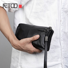 AETOO Men's handbags, men's leather soft leather casual handbags, long zip-up wallets, leather mobile phone bags