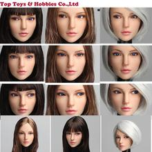 1/6 Scale Woman 2B Head Sculpt Europe beauty Girl plant hair Carved Model with bling movable eyes  e Fit pale Female Body