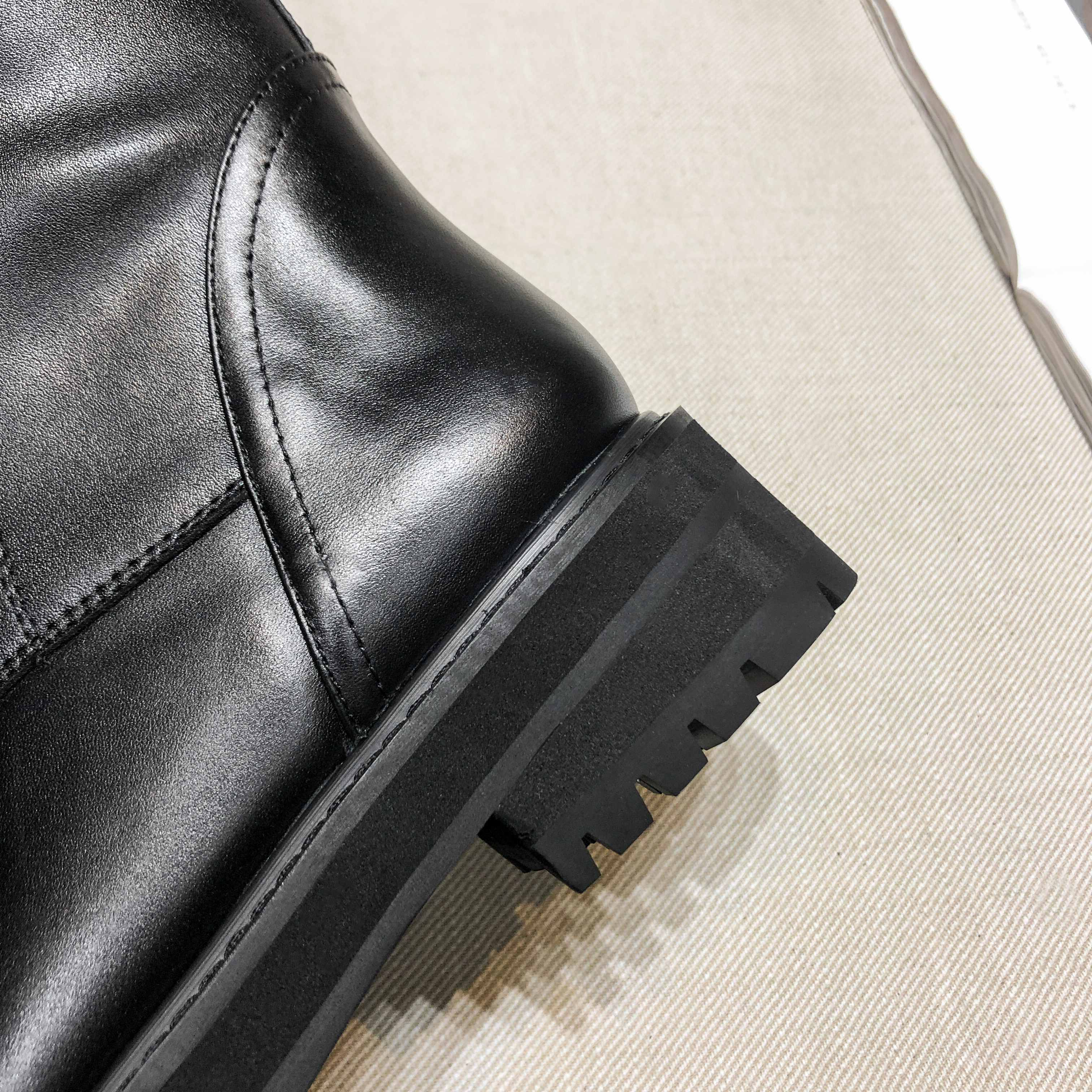 krazing pot genuine leather lace up med heels round toe punk superstar equestrian boots buckle fasteners over-the-knee boots 6