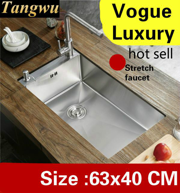 Livraison gratuite appartement grande cuisine manuel évier unique auge vogue robinet extensible 304 acier inoxydable grande vente chaude 630x400 MM