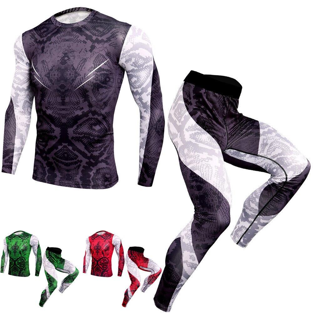 Mma Rashguard Muay Thai Print Compression Sport Suit Men Kickboxing T Shirt Mma Jerseys+Pants Underwear Workout Sports Tracksuit