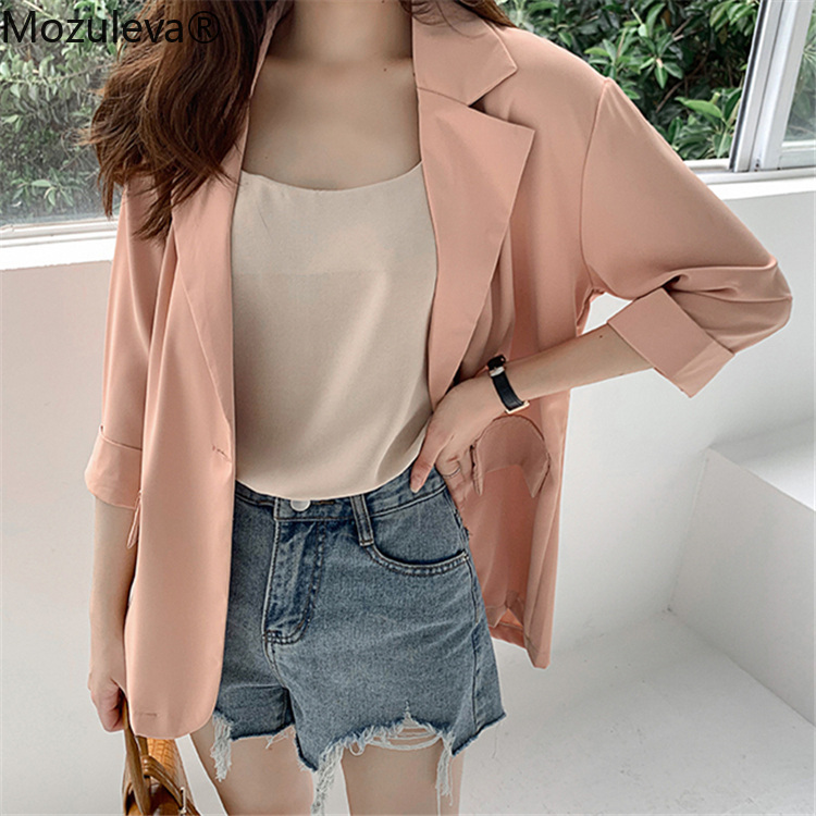 Mozuleva 2020 Summer Women's Blazers Solid 4 Colors Casual Three Quarter Loose Jacket One Button Notched Wild Tops New T-Shirts
