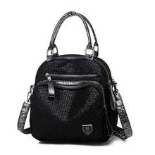 Women PU Leather Backpack Female 2020 New Sequin Casual Wild Multifunctional Shoulder Traveling Backpack