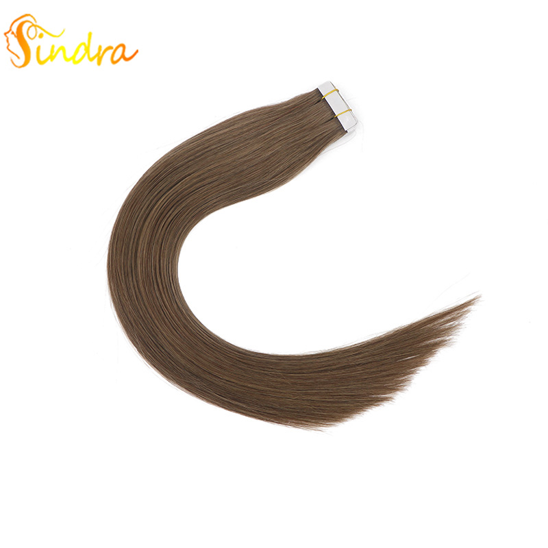 Sindra Remy Tape In Human Hair Extensions Natural Real Hair Invisible Seamless Germany Adhesive Hair Extensions