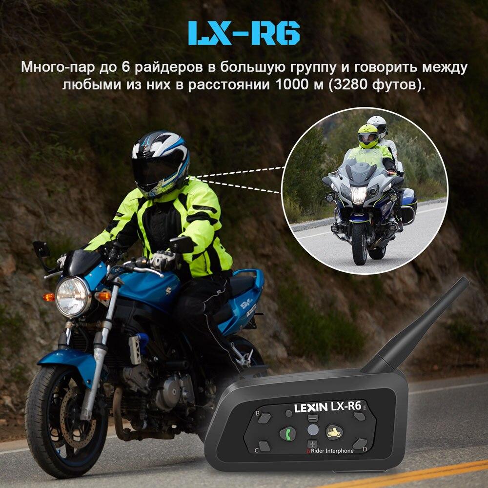 Lexin 2шт R6 Bluetooth Интерком для Мотошлема Водозащитная Мотогарнитура для 6 Райдеров в Группе BT 21 Helmet Intercom MP3 - 4