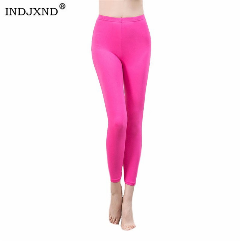 INDJXND Neon Stretch Leggings White High Waist Women Plus Size High Waist Female Skinny Pencil Pants Candy Color Summer Leggings