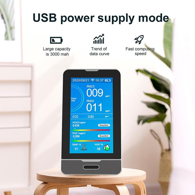 Tuya wi fi pm2.5 pm1.0 pm10 monitor de qualidade do ar umidade temperatura 4.3 Polegada display led inteligente co2 hcho tovc detector gás