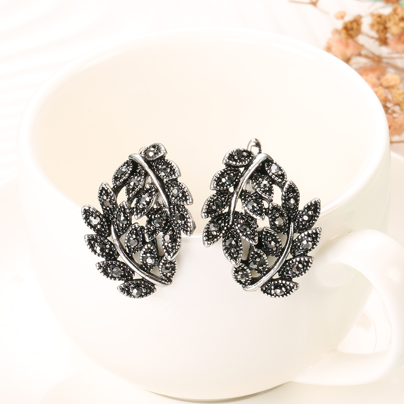 Kinel 2pcs Vintage Jewelry Sets Antique Silver Color Hollow Flower Crystal Stud Earring Rings for Women Luxury Party Accessories