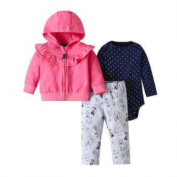 baby girl clothes long sleeve hooded jacket+floral bodysuit+pant 2020 fashion newborn outfit fall infant clothing set zipper 4