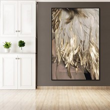 Nordic Minimalist Style Canvas Painting Feather Gold Color Lamp Poster Print Wall Art Picture for Living Room Home Decor Cuadros