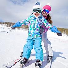Лыжный костюм в полоску для мальчиков и девочек, куртка и штаны, водонепроницаемая ветрозащитная верхняя одежда для детей, Детский комплект для сноуборда