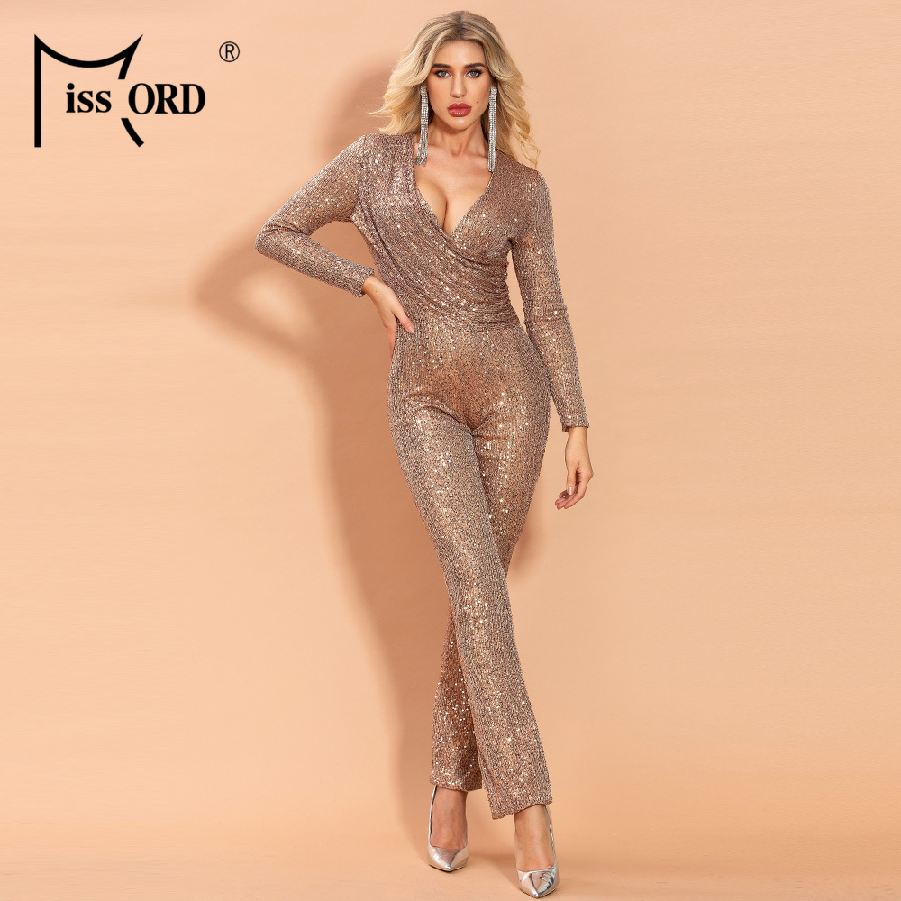 Missord 2020 Women Sexy V Neck Long Sleeve Sequin Jumpsuit Elegant Bodycon Solid Color  Jumpsuit FT19985-1