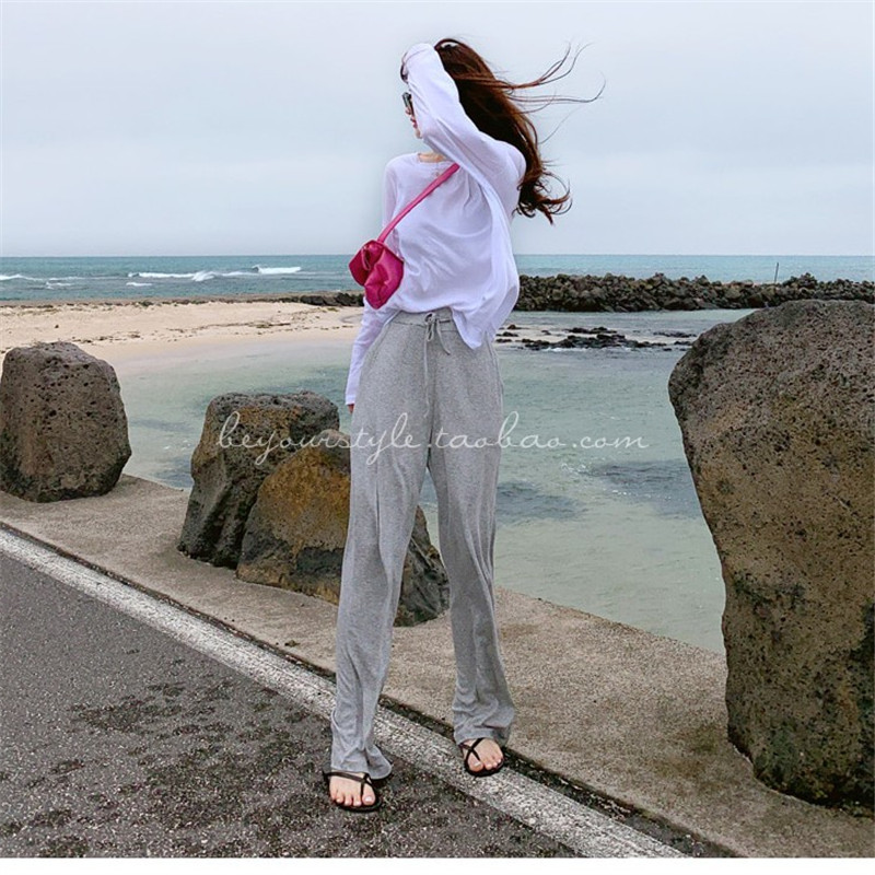 Leisure Sexy Mid Waist Wide Leg Pants Women 2019 Female Trousers Casual Womens Summer Cotton Beach Long Loose Harem Pants