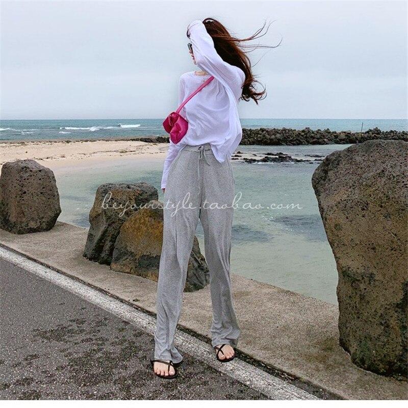 Leisure Sexy Mid Waist Wide Leg Pants Women 2019 Female Trousers Casual Womens Summer Cotton Beach Long Loose Harem Pants