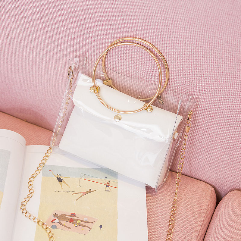 2019 Women PVC Transparent Candy Colors Square Bag Women's Shoulder Crossbody Bag Chain Small Jelly Ring Handle Handbags LBY