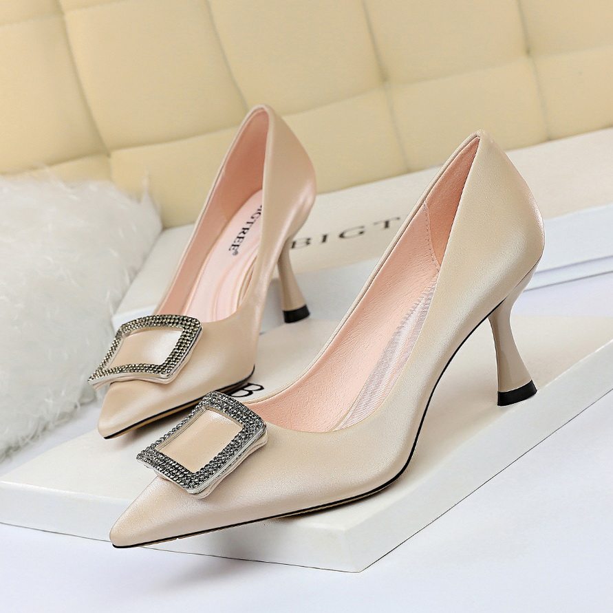 2019 New Sexy Luxury Crystal Silk Brand Design Women Shoes High Heels Pumps Elegant Shoes Ladies Shoes Wedding Shoes