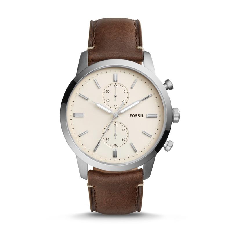 FOSSIL Townsman 44 мм кварцевые хронограф коричневые кожаные часы винтажные карманные часы для мужчин FS5350