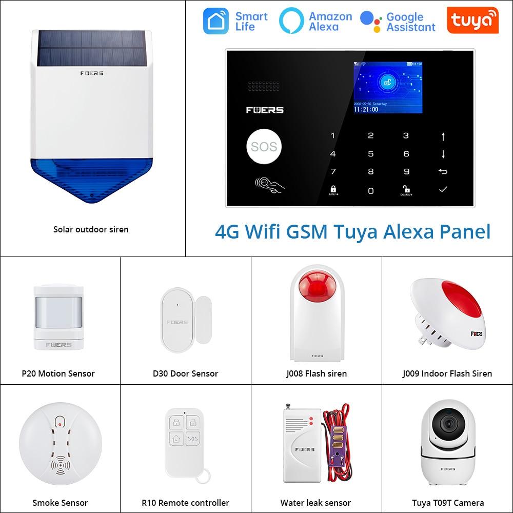 FUERS WIFI 4G Alarm System Wireless Home Burglar Security Alarm System Tuya APP Control Siren Motion Detector PIR Smoke Sensor