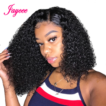 13x4 Kinky Curly Human Hair Wigs Curly Lace Front Wig Short Curly Bob Wig Brazilian Remy Human Hair Wig Perruque Cheveux Humain short shaggy neat bang layered curly siv human hair wig