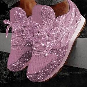 Image 4 - Damskie trampki Bling 2020 jesienne nowe płaskie damskie buty wulkanizowane zasznurowane buty sportowe do biegania na świeżym powietrzu