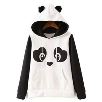 цена на 2020 Hoodie Women Panda Sweatshirt With Ears Printed Hoodie Pullover Kawaii Kangaroo Pocket Patchwork Hoodie Drawstring Fashion